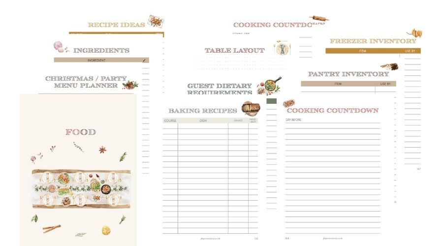 Christmas Planner 2021 Food section