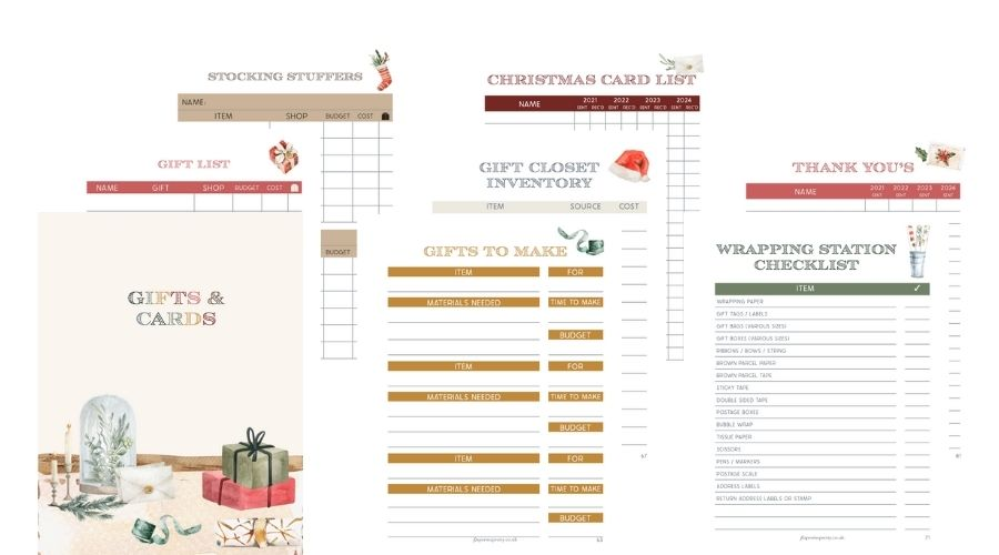 Christmas Planner 2021 Gifts & Cards section