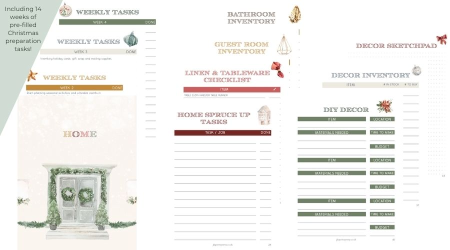 Christmas Planner 2021 Home section