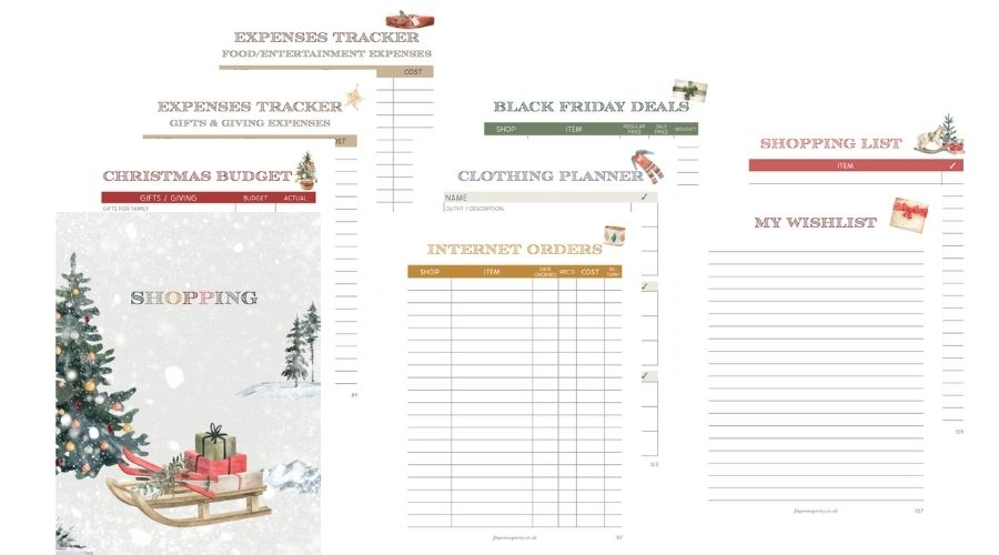 Christmas Planner 2021 Shopping section